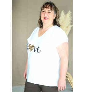 Tee Shirt love léopard blanc