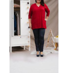 pantalon bleu marine enduit femme haut rouge