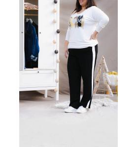 pantalon noir avec bande blanche coté