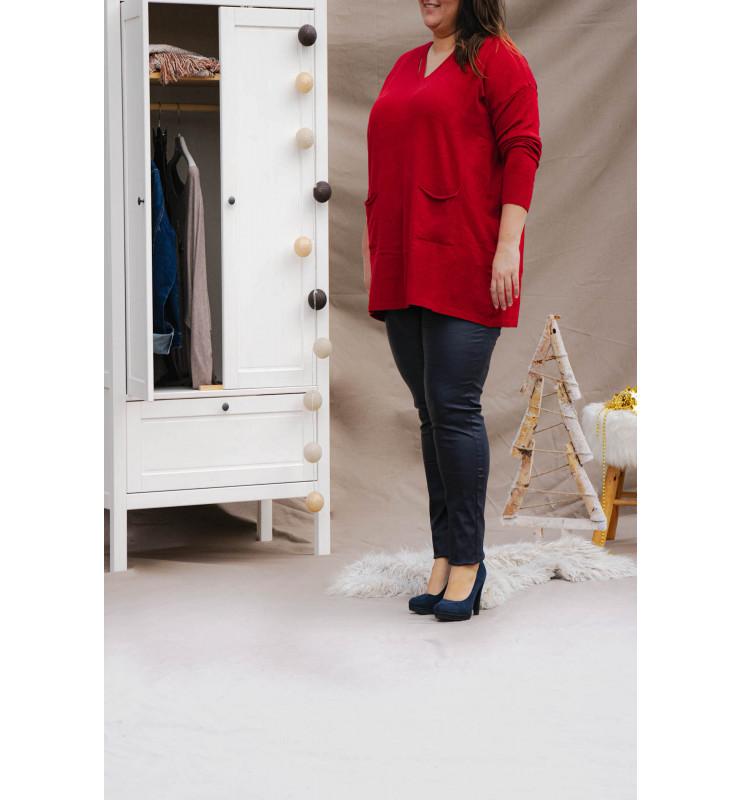 Pantalon enduit femme marine coté haut rouge
