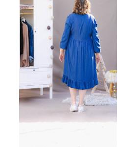 Robe tunique bohème bleue à...