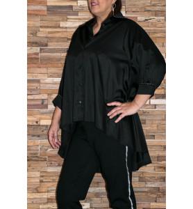 Chemise noire coutures argentées