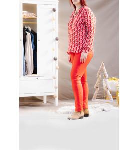 blouse rouge imprimée coté